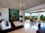 Master Suite with full width doors to open to terrace, ceiling fan, airconditioning, safe, good WiFi