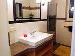 Badzimmer mit vielen Ablagen und großer Dusche