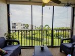 Lanai with water view seating for 4