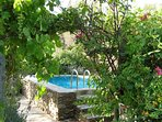 Spring water fed pool surrounded by rose and vine arbour