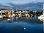 Dungarvan harbour with plenty of superb restaurants and bars.