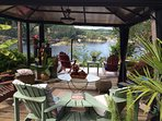 gazebo to watch hummingbirds and relax in area above house...I have banana trees!