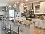 Gourmet Kitchen with Large Island and 5 Barstools