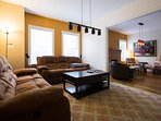 Living Room with 65 inch tv and entertainment system