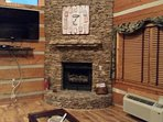 Real stone gas fireplace