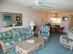 Check out the Canaveral Beach 402 LIVING ROOM!  Fully BEAUTIFUL!  Note Ceiling Fan!