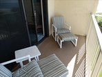 Your FULLY PRIVATE BALCONY has seating room several, and OVERLOOKS the Beach and pool!