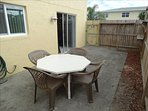 LARGE Patio out your sliding doors - and EXTREMELY Private!  Fully Fenced for extra privacy!