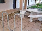 Right outside your door is a Bike Rack and Picnic table!