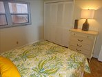 Second Bedroom features Dresser, large closet, and a window to let the fresh salt air in at anytime!