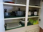 Cooking is a BREEZE when you are staying at Luxury #1!  Just look at all of these pots, pans, and more!