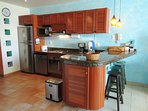 Modern kitchen with full sized appliances equipped with everything for the gourmet cook!