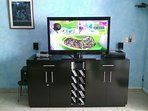 46' LCD TV, DVD player, surround sound, movies and books for your enjoyment.