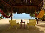 Seating, Hammocks and View under Palapa.