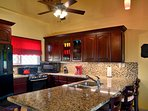 Kitchen View of Appliances and Granite counter tops