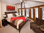 2nd floor 2nd Master bedroom with river views from 10 windows-includes king bed, sitting area and TV