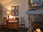 Cathedral ceilings, large screen satelliteTV, cozy winter wood burning fire place