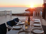 Stunning sunsets during evening dining