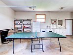 Ping pong games are a great way to pass the time, and there's a washer and dryer in here too!