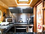 Narrowboat Grouse: Impressively large kitchen with everything you'll need to cook a superb meal.