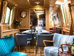 Narrowboat Grouse: One of our fleet of 5-star hand-built boats with lavish interiors.
