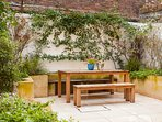 Solid teak garden furniture.