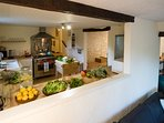 The Chef's kitchen in Fleurie is just waiting for the market day's feast.