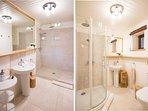 Four recently renovated designer bathrooms with rain forest showers await.