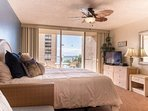 King sized bed where you will enjoy ocean views from inside as well as on the lanai