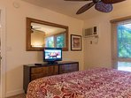 Master bedroom with flat screen television and airconditioning.