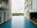 Swim in the infinity pool at Level 7