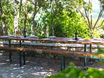 Gather your family and enjoy your homemade meals under the shade of the trees!