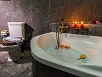 The bathroom features a comfortable bathtub!