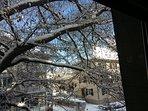 Winterlicher Ausblick aus dem Schlafzimmerfenster