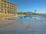 Jump into the outdoor pool after swimming in the ocean.