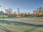 Practice your serve on the tennis courts.