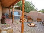 Adobe wall enclosed courtyard with hot tub, gas grill, fire pit & portal for shade or rainy days