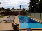 Our pool is good for boat relaxing or practice to be the strong swimmer.