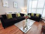 Living room, sink into the beautiful Italian sofas!