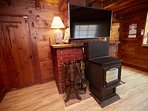 Pellet Stove and Curved TV