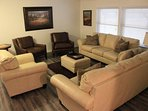 Living room with leather seating.