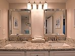 A double-sink vanity allows you to prep for the day with ease.