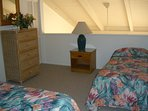 The loft with a queen and trundle bed.  The Trundle is better suitable for teens & children.