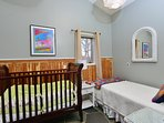 kids room - solid wooden crib and twin bed - ideal for kids or nanny and baby. ground fl.