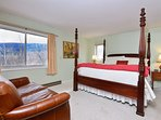 king bedroom master suite on ground floor has beautiful views, 4 poster king bed and en suite bath