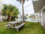 Our water-side picnic area & yard are fully fenced so kids & pets can safely play.