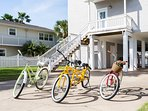 Bike to the beach on our complimentary bikes... the yellow one is a two-seater!
