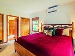 Red Fern bedroom 1st floor; king bed adjoining bathroom.