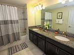 En-Suite Bath to Upstairs King Suite - Double Sinks, Shower & Tub Combination