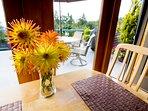 Enjoy dining inside or out.